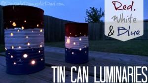Red White Blue Tin Can Luminaries