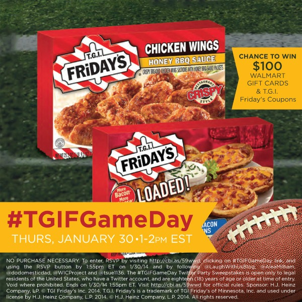 Join me for the #TGIFGameDay Twitter Party Jan 30th 1pm EST