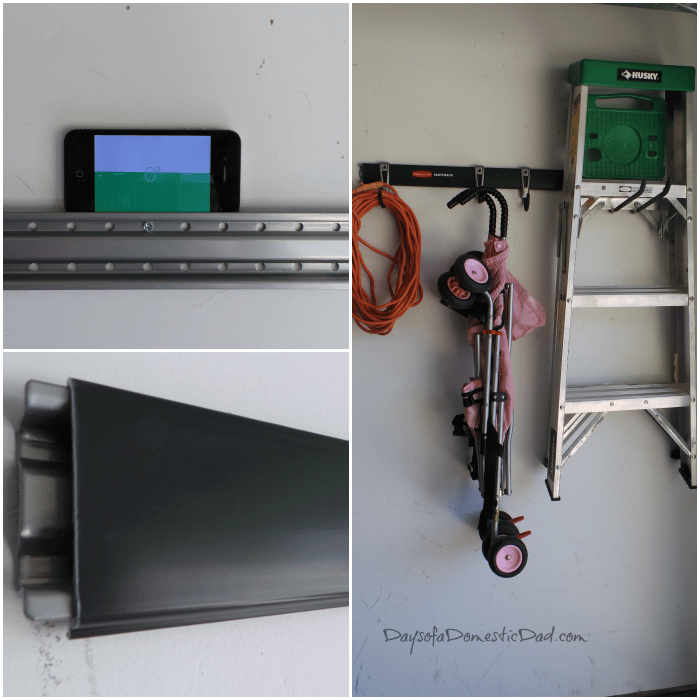 Garage Organization is a Snap with Rubbermaid FastTrack #Weave ... on rubbermaid fast track accessories, rubbermaid fast track 2 bicycles, rubbermaid fast track bike rack, lowe's rubbermaid fast track, rubbermaid fast track organizer, rubbermaid fast track system, garage wall track,