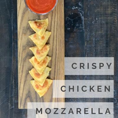 Crispy Grilled Chicken & Mozzarella Ravioli with Heirloom Marinara