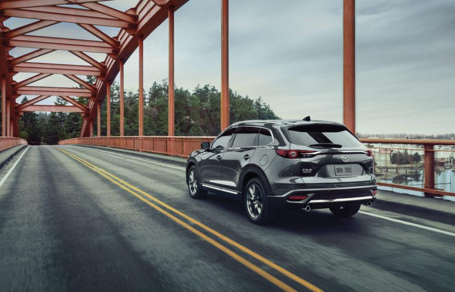 2020 Mazda CX-9 crossing a iron bridge
