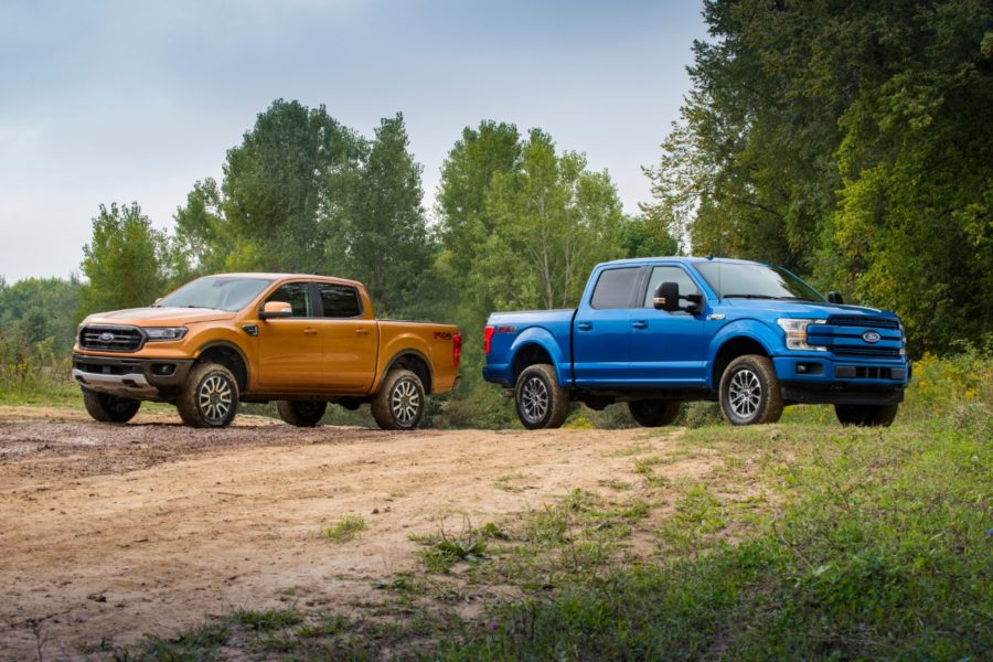 Red and blue F150 stand