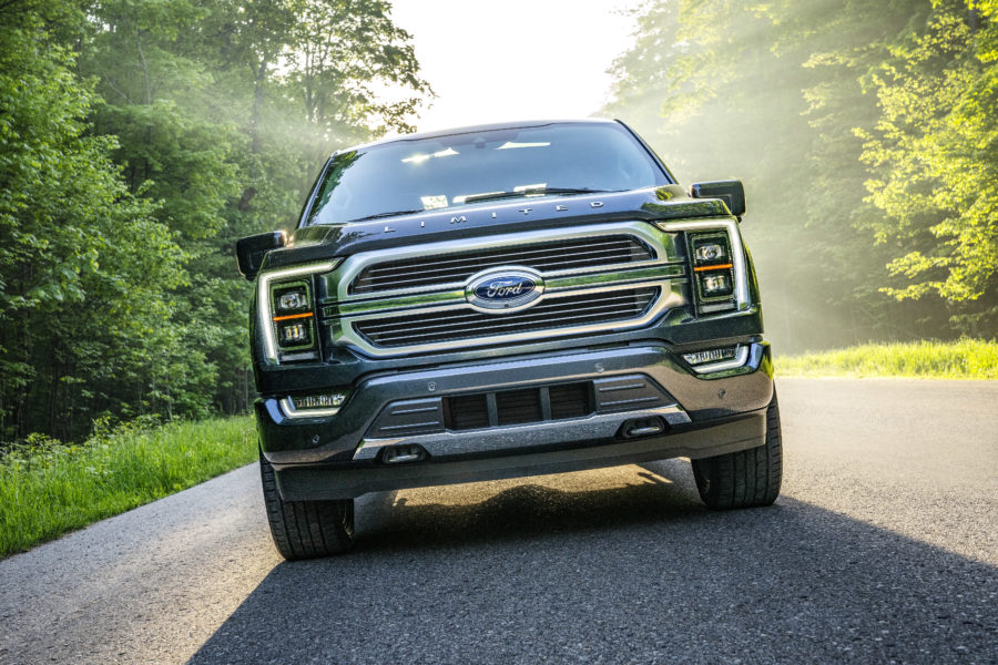 Front end of a ford f-150 - built ford tough