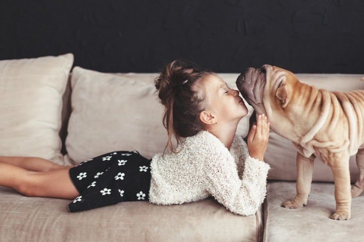 Young girl laying on a couch, nose to nose with a dog