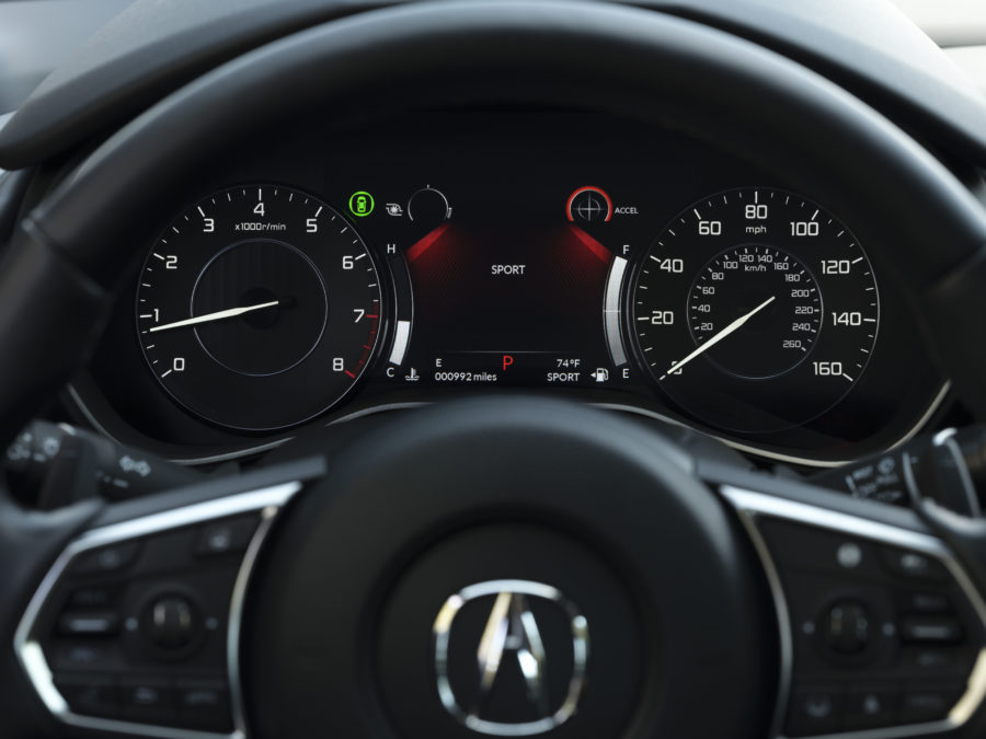 2021 TLX Advance, shown with the steering wheel and gauges