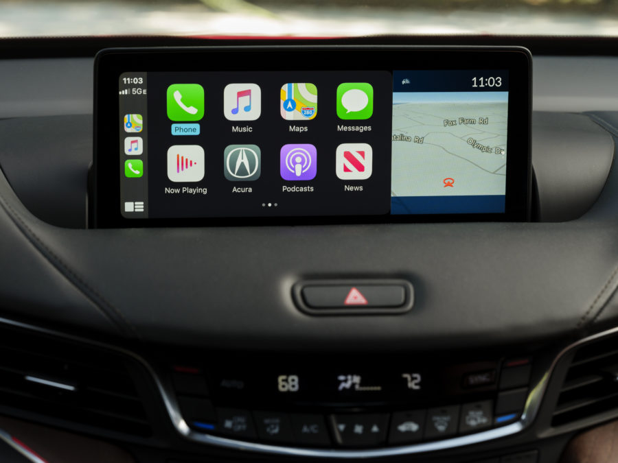 the interior of the 2021 TLX Advance, shown with apple car play