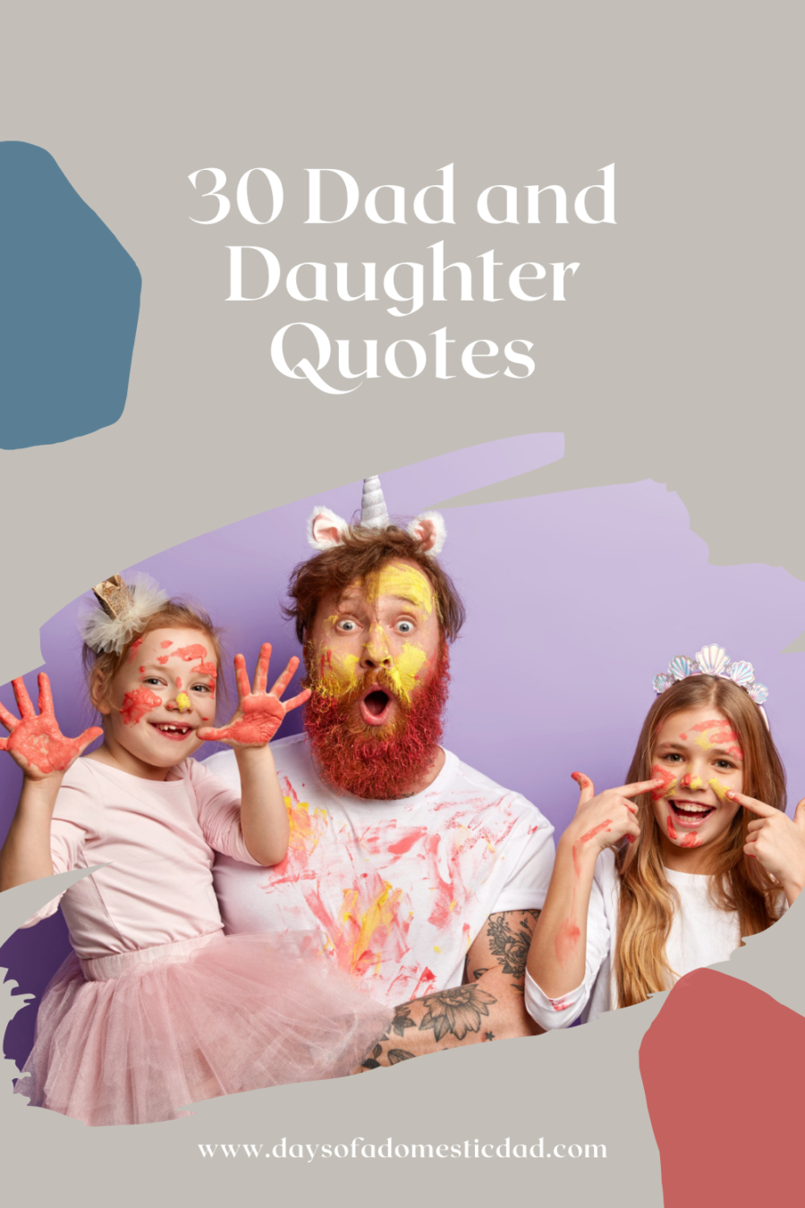 Small female child shows hands soiled with colourful gouache paintings, her glad sister has stains of watercolor on face, stunned father stares, have fun before mother returns from work.