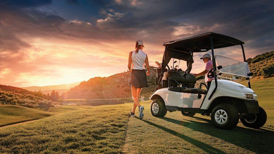 EZ-GO golf cart on the green