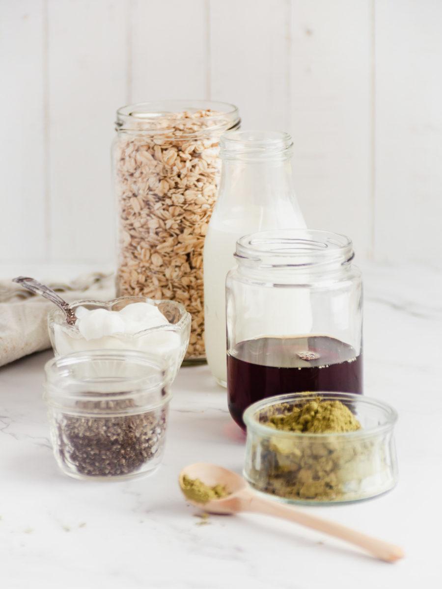 Matcha Overnight Oats Ingredients, milk, oats, matcha, chia seeds, syrup