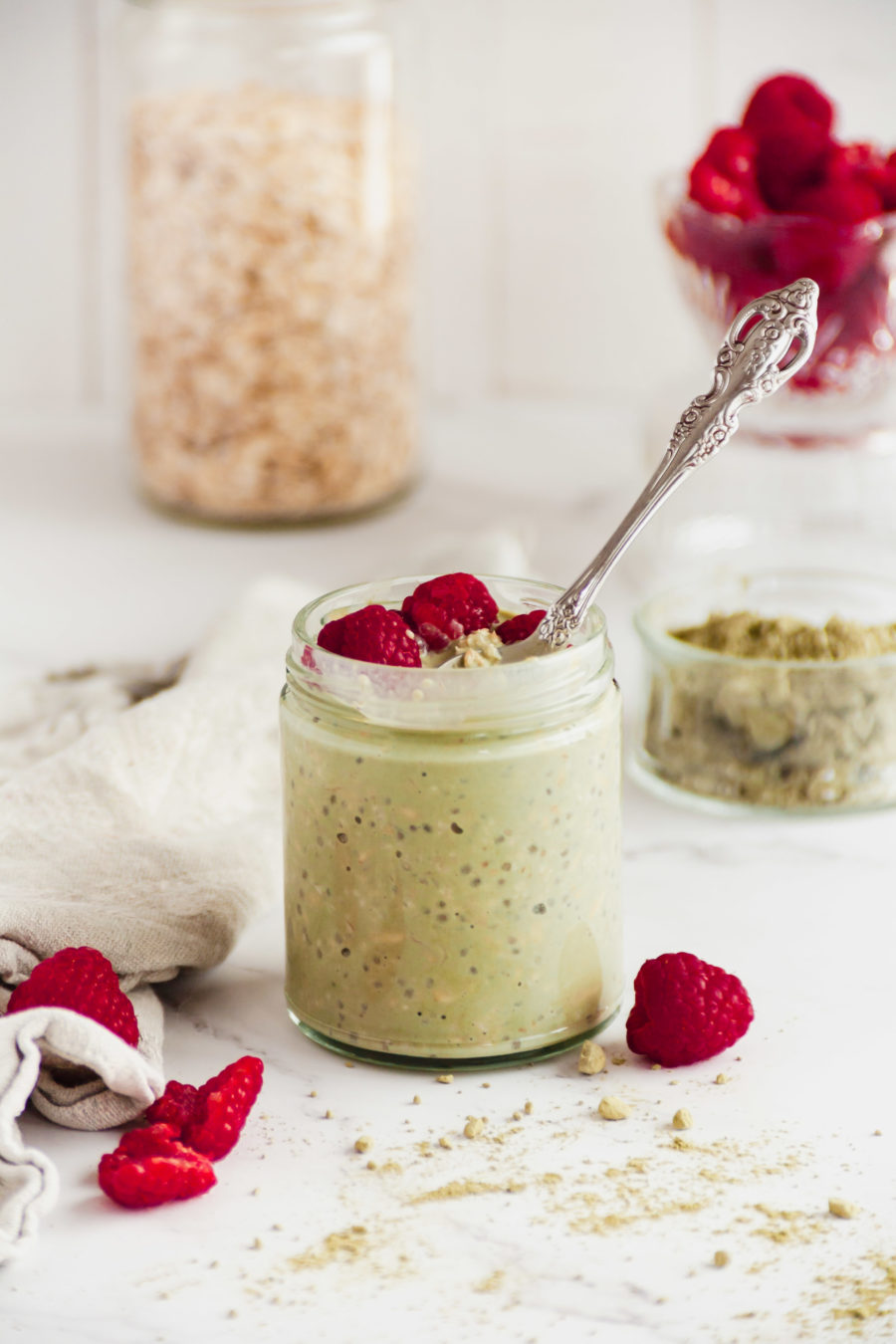 Small cup of matcha overnight oats