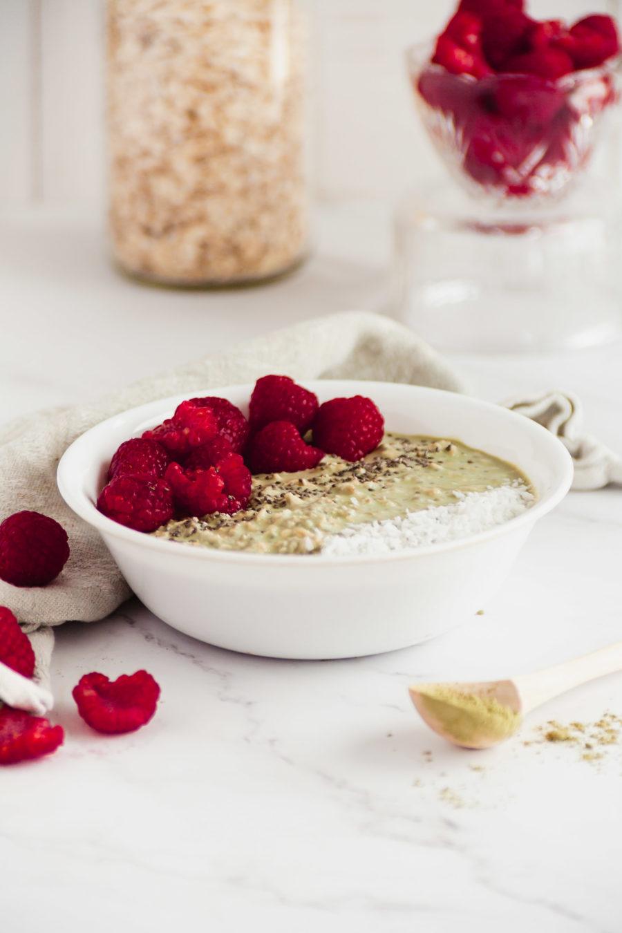 bowl of Matcha Overnight Oats