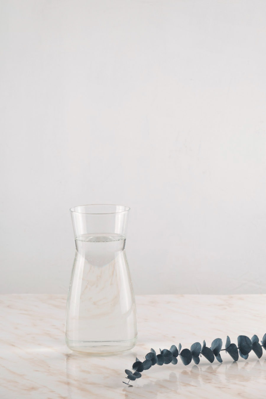 Modern water decanter with eucalyptus branches in minimalism style