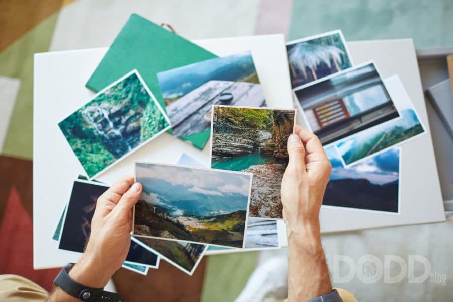 Elderly woman looking at photo album